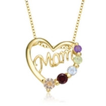 Gold Overlay Genuine Stone Mom Necklace CSN-GPEN8304