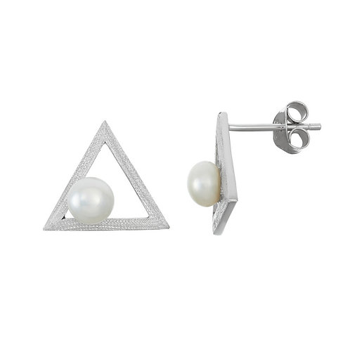 Sterling Silver Open Triangle with FWP Earrings CL-D-6038