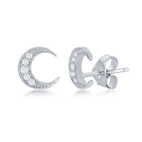 Sterling Silver Small Crescent Moon Stud Earrings CL-D-6940
