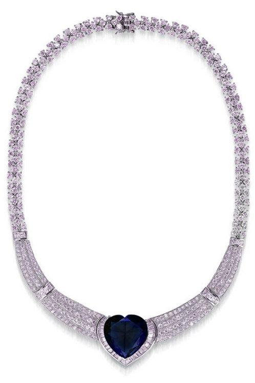 Gorgeous 10.00ctw Sapphire Heart Necklace TN-NEC1212