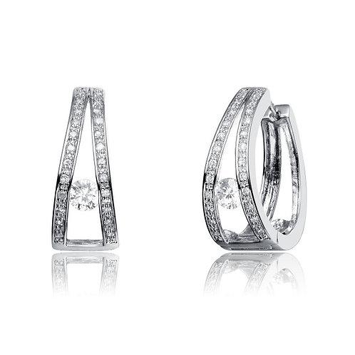 Sterling Silver Double Hoop Earrings TCE-EAR396