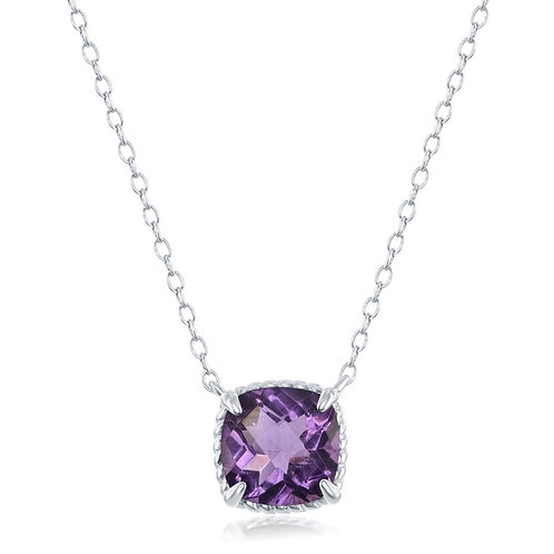 Sterling Silver Four-Prong Square Amethyst with Rope Necklace CL-M-6061