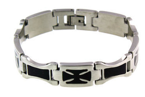 Stainless Steel Black Cross Bracelet MN-WS0003BRJ