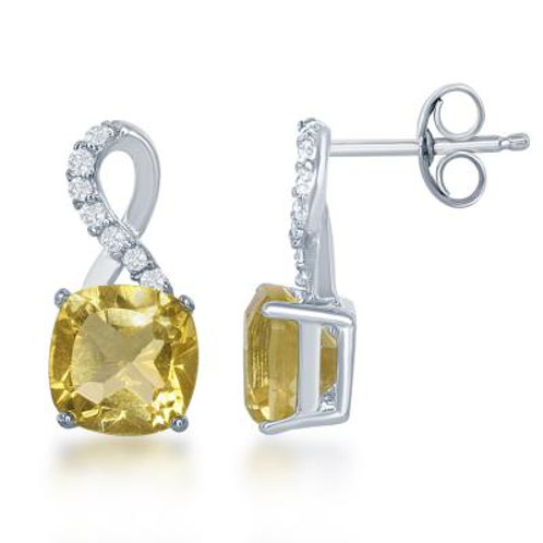 Sterling Silver Small Square Citrine with White Topaz on Top Earrings TCE-D-6073