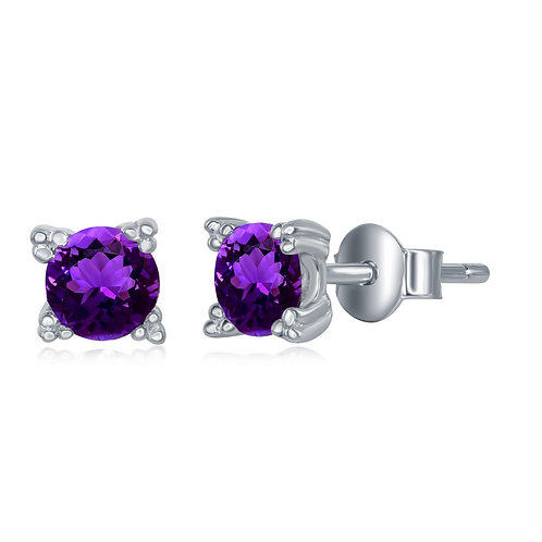 Sterling Silver 5MM Round Amethyst Stud Earrings CL-D-6575