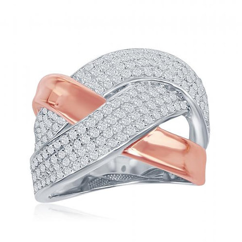 Sterling Silver Two-Tone Overlapping Micro Pave Ring CSR-W-1866