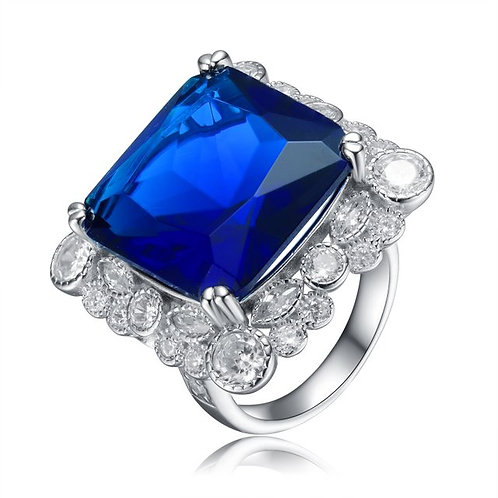Sterling Silver with Rhodium Plated Sapphire Blue Cushion Stone Ring TR- R7078-S