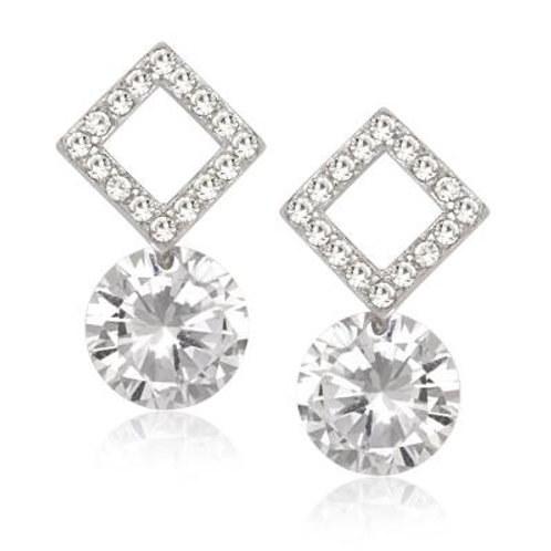Sterling Silver Square Style Dangling Earrings TCE-D-5642