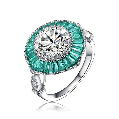 Sterling Silver Baguette and Round Emerald Stone Deco Style Ring TCR-R5704-E
