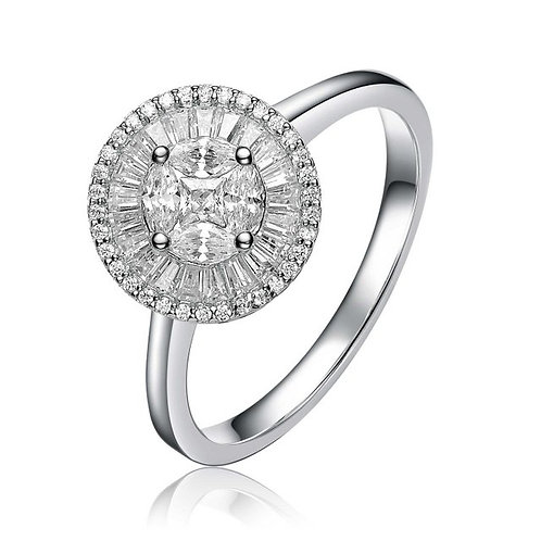 Sterling Silver with Rhodium Plated Round with Tapered Baguette Ring TCR-R9889