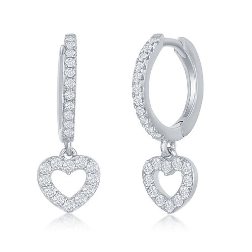 Sterling Silver Small Huggie Hoop Heart Earrings CL-D-7303