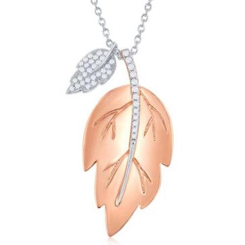 Sterling Silver Rose Toned Leaf Pendant CSN-M-5938-TT