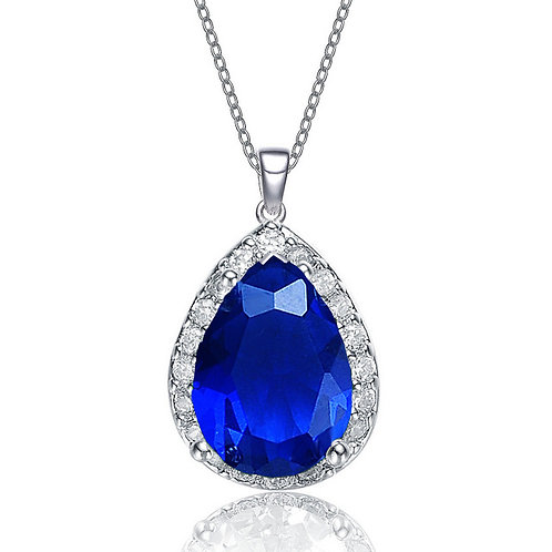 Sterling Silver / platinum Plated Pear Shaped Sapphire Pendant TCN-PEN6041-S
