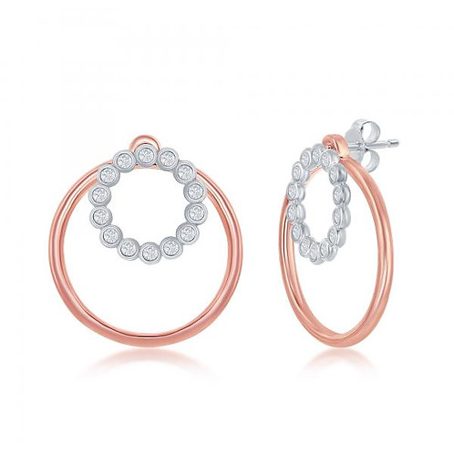 Sterling Silver Rose Gold Plated Open Circle Earrings CSE-D-7014-RG
