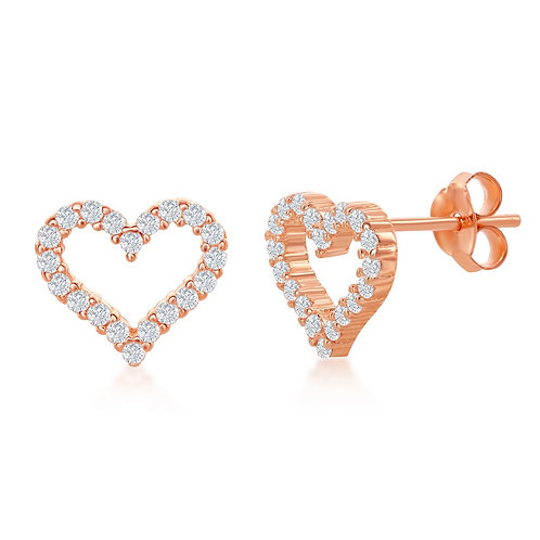 Sterling Silver Rose Gold Plated Open Heart Stud Earrings CL-D-6912-RG