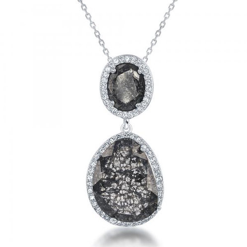 Sterling Silver Double Oval Grey Ice Pendant CSN-K-7587