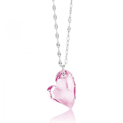 PINK CRYSTAL HEART NECKLACE M-4599