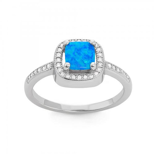 STERLING SILVER SQUARE BLUE INLAY OPAL RING W-1507