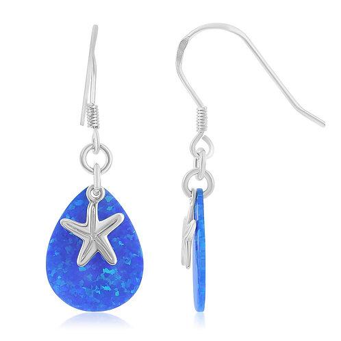 Sterling Silver Opal Teardrop and Starfish Fishhook Earrings CL-D-6398