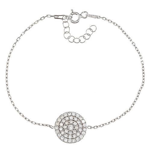 "Sterling Silver 6+1"" Round CZ Disc Bracelet CSB-T-6723"
