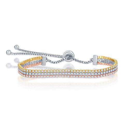 Sterling Silver Three Strand Tennis Adjustable Bracelet Tri-Colored  CSB-T-7804