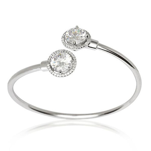 STERLING SILVER HALO CZ BANGLE U-6530
