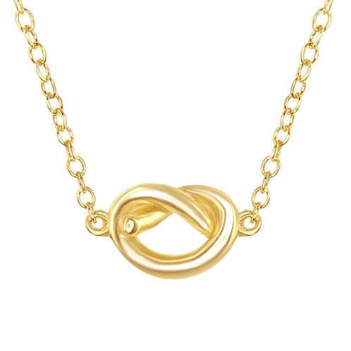 """Sterling Silver 16+2"""" Gold Plated Small Love Knot Necklace CL-L-4046-GP"""