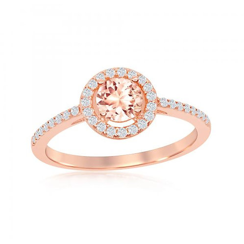 5mm Morganite CZ with White CZ Border Ring TCR-W-1937