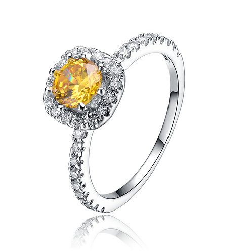 Sterling Silver White and Yellow Cubic Zirconia Ring  R2152-YC