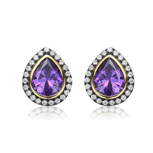 Teardrop Shaped Amethyst with 18k Gold Toned Stud Earrings CE-EAR1651