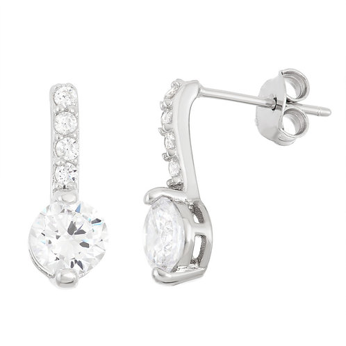 Sterling Silver Thin Bar with Round Earrings CL-D-5944
