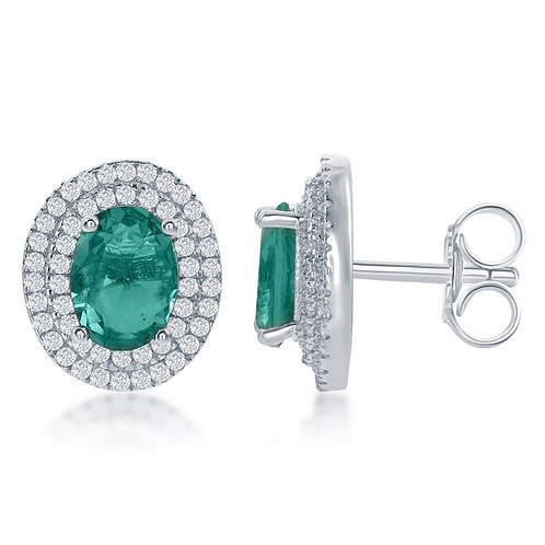 Sterling Silver Oval Simulated Emerald Earrings CL-D-6308