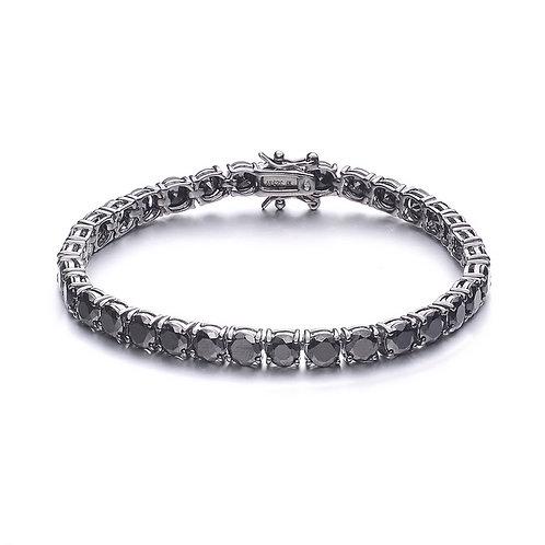 Sterling Silver Black C.Z. Rhodium Plated Tennis Bracelet BR2038-Black