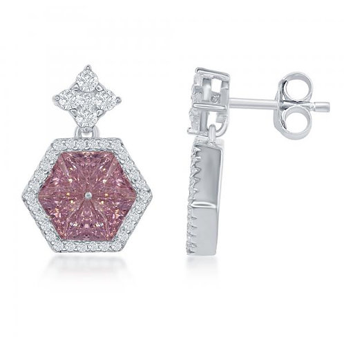 Sterling Silver Hexagon Shaped Center Pink Earrings TCSE-D-6476