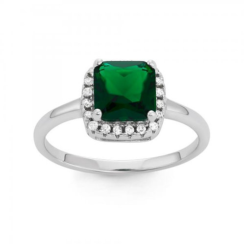 Sterling Silver Square Emerald Green Engagement Ring TCR-W-1535