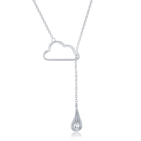 Sterling Silver Cloud with Hanging Raindrop Lariat Necklace CL-L-4027