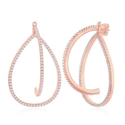 3D Style Rose Gold Plated Earrings CSE-D-6803