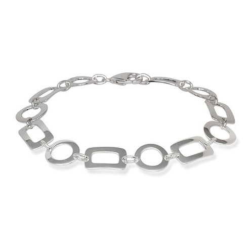 STERLING SILVER SQUARE AND CIRCLE BRACELET