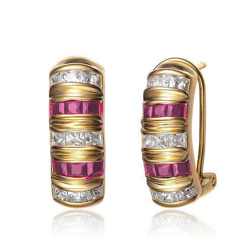Half Moon Gold Plated Ruby Princess Cut Style Earrings CSE-EAR2036-R