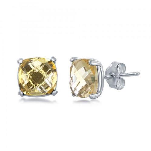 Sterling Silver 'November Birthstone' Square Citrine Stud Earrings TCE-D-6824