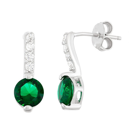 Sterling Silver Thin Emerald Bar with Round Earrings CL-D-5949