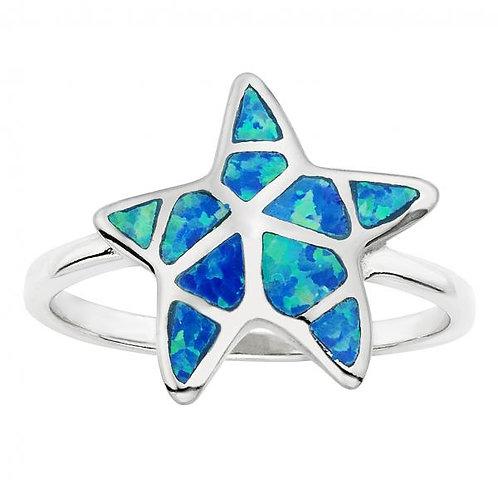 BLUE INLAY OPAL STARFISH RING  W-9793