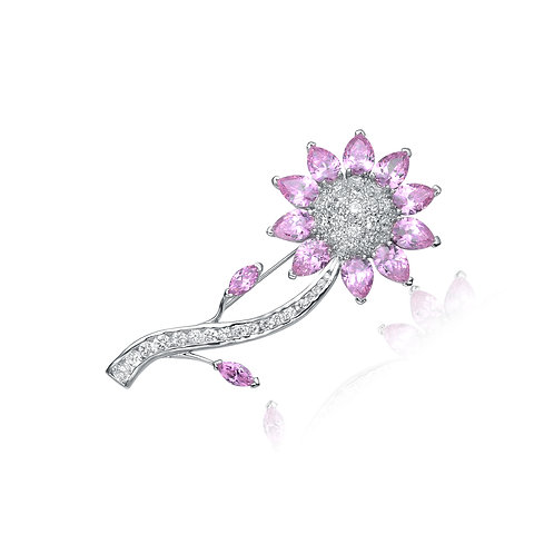 Sterling Silver/Platinum Plated Pink Stone Sunflower Pin P-PIN114-P