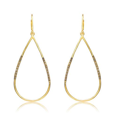 Gold Toned Oxidized style Pear Shape Earrings CSE-EAR9702