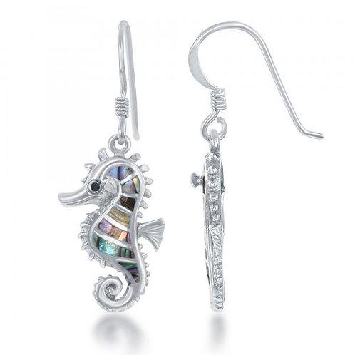 Sterling Silver Black Abalone Seahorse Earrings CSE-D-6305