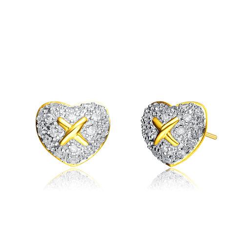 Sterling Silver Pave` Gold Plated Heart Stud Earrings CSE-EAR420-TT