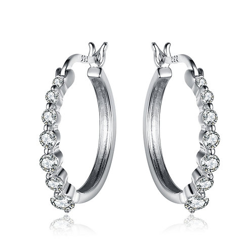 SS / Platinum Plated Graduated Hoop Earrings TCE-EAR7033