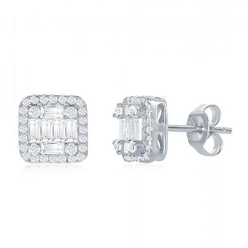 Sterling Silver Square Baguette Stud Earrings TCE-D-6782
