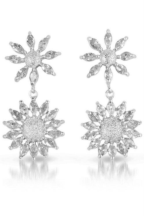Sterling Silver Sun Shaped Earrings TSE-EAR750