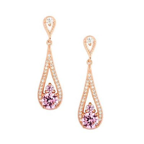 Sterling Silver Rose GP Micro Pave Teardrop with Pink Stone Earrings TCE-D-5437